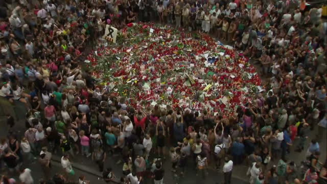 shows exterior shots people gathered around large collection of flowers and messages left in tribute to the victims of la rambla terror attack with... - temporäre gedenkstätte stock-videos und b-roll-filmmaterial