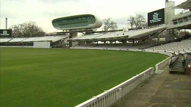 shows exterior shots pitch and media centre at lord's cricket ground on february 07 2017 in london england - lords cricket ground stock videos and b-roll footage