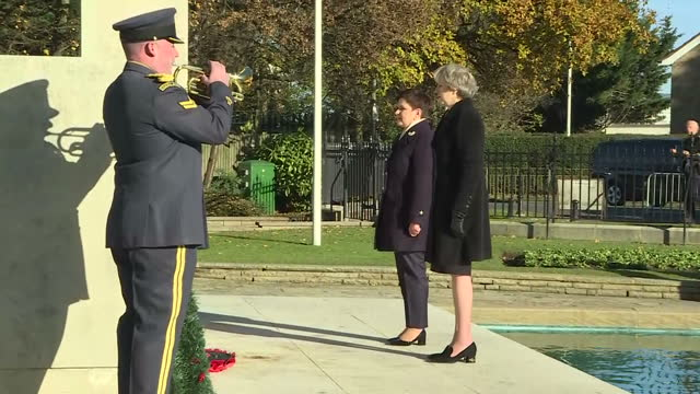 shows exterior shots polish prime minister beata szydlo and uk prime minister theresa may lay poppy wreaths at polish raf pilots war memorial and... - prime minister of the united kingdom stock videos and b-roll footage