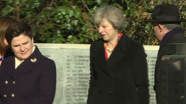 shows exterior shots polish prime minister beata szydlo and uk prime minister theresa may viewing names on polish raf pilots war memorial in northolt... - prime minister of the united kingdom stock videos and b-roll footage