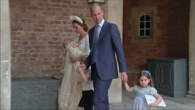 shows exterior shots prince catherine duchess of cambridge holding prince louis and prince william duke of cambridge holding hands of prince george... - baptism stock videos & royalty-free footage