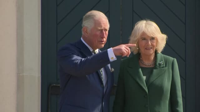 shows exterior shots prince charles and his wife camilla being given tour of garden at hillsborough castle. the prince of wales and duchess of... - prince of wales stock videos & royalty-free footage
