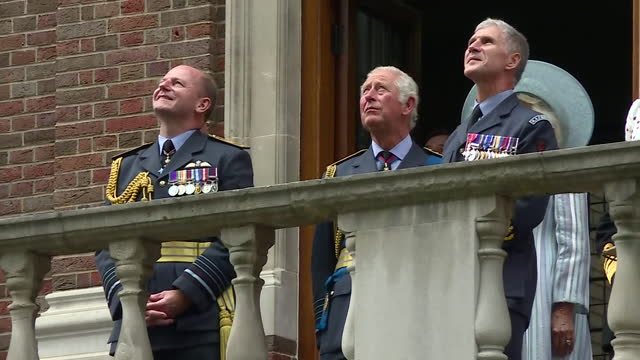 shows exterior shots prince charles, prince of wales and camilla, duchess of cornwall with air chief marshal sir mike wigston, chief of the air staff... - activity stock videos & royalty-free footage