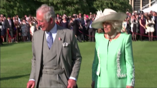 clean shows exterior shots prince charles prince of wales and camilla duchess of cornwall watching band perform and chatting to musicians when they... - buckingham stock videos & royalty-free footage
