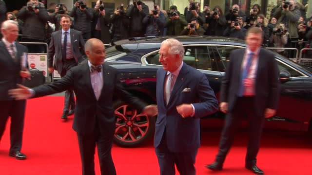 shows exterior shots prince charles, prince of wales, arriving at the prince's trust awards at the london palladium. the prince of wales, president... - prince of wales stock videos & royalty-free footage