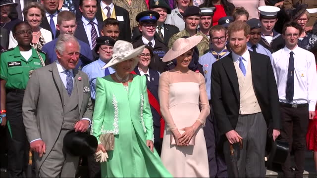 shows exterior shots prince charles prince of wales camilla duchess of cornwall meghan duchess of sussex and prince harry duke of susex chatting... - camilla duchess of cornwall stock videos and b-roll footage