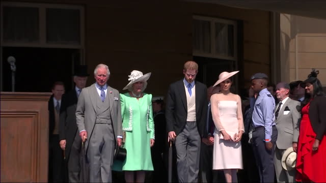 shows exterior shots prince charles prince of wales camilla duchess of cornwall prince harry duke of sussex and meghan duchess of sussex walking out... - prinz königliche persönlichkeit stock-videos und b-roll-filmmaterial