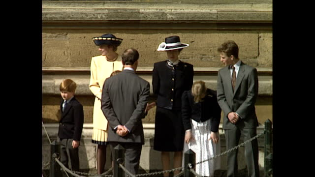shows exterior shots prince charles princess diana prince william and prince harry arriving and joining princess anne and her children before the... - königshaus stock-videos und b-roll-filmmaterial