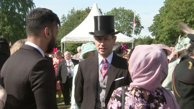 shows exterior shots prince edward earl of wessex talking to guests at a garden party at the palace of holyroodhouse, on 3rd july, 2019 in edinburgh,... - prince edward, earl of wessex stock videos & royalty-free footage