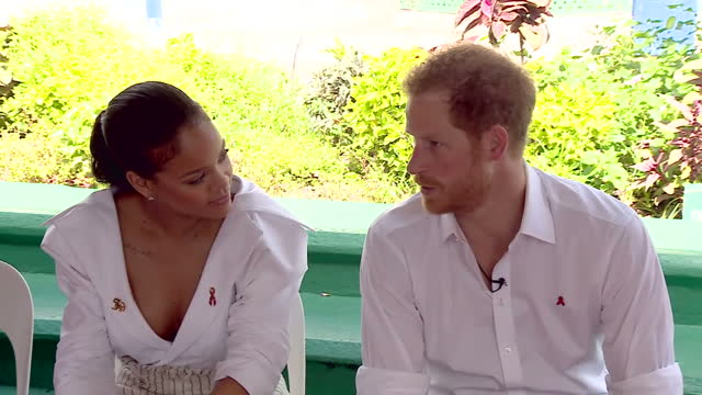 Shows exterior shots Prince Harry and Barbadian Superstar Rihanna having an Aids test Singer Rihanna Prince Harry and Councillor Ministry of Health...