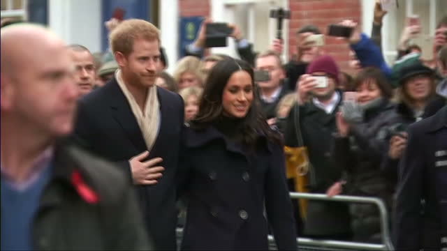 shows exterior shots prince harry and hi snew fiance actress meghan markle arriving in nottingham for their first public engagement since announcing... - fiancé stock videos and b-roll footage