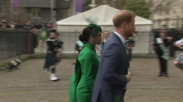 shows exterior shots prince harry duke of sussex and meghan duchess of sussex arriving at westminster abbey for the commonwealth day service on 9th... - british empire stock videos & royalty-free footage