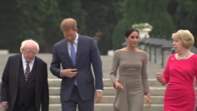 shows exterior shots prince harry duke of sussex and meghan duchess of sussex walking with irish president michael higgins his wife sabina and their... - day 2 stock videos & royalty-free footage