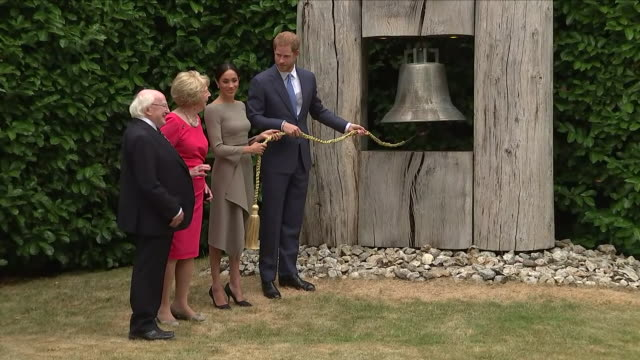 Shows exterior shots Prince Harry Duke of Sussex and Meghan Duchess of Sussex with Irish President Michael Higgins and his wife Sabina in the frounds...