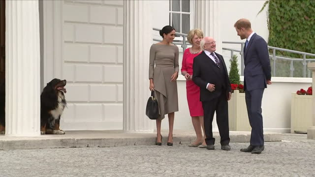 Shows exterior shots Prince Harry Duke of Sussex and Meghan Duchess of Sussex saying goodbye to the Irish President Michael Higgins and his wife...