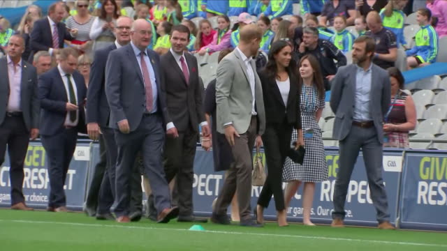 Shows exterior shots Prince Harry Duke of Sussex and Meghan Duchess of Sussex at Croke Park home of Ireland's largest sporting organisation the...