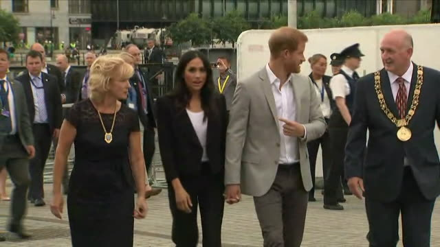 shows exterior shots prince harry duke of sussex and meghan duchess of sussex, arriving at epic, the irish emigration museum. the duke and duchess of... - epic film stock videos & royalty-free footage