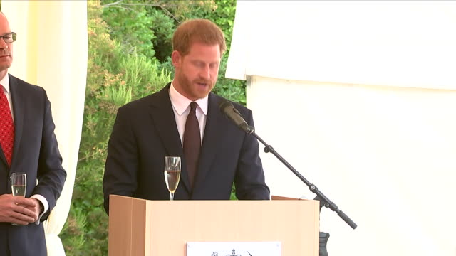 shows exterior shots prince harry, duke of sussex giving speech at a reception at glencairn, the residence of robin barnett, the british ambassador... - robin day stock videos & royalty-free footage