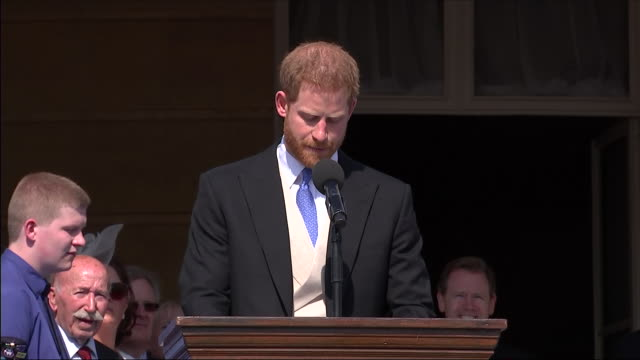 shows exterior shots prince harry duke of sussex speaking on prince charles' charity work and getting attacked by a bee at an official buckingham... - prince stock videos & royalty-free footage
