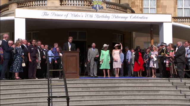 shows exterior shots prince harry duke of sussex speaking on prince charles' passion and how it has inspired william and harry in their own charity... - prince stock videos & royalty-free footage