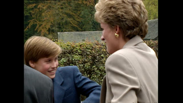 shows exterior shots prince harry prince william and princess diana climbing aboard a carriage and setting off on a horse and trap ride at a museum... - ウィリアム王子点の映像素材/bロール