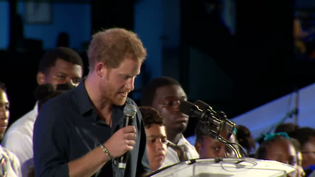 shows exterior shots prince harry speaking at 50th anniversary of independence event in barbados speaking on young people building next 50 years... - 2016 stock-videos und b-roll-filmmaterial