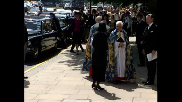 shows exterior shots prince michael and princess michael of kent arriving outside westminster abbey for earl spencer's memorial service on may 19th... - princess michael of kent stock videos and b-roll footage