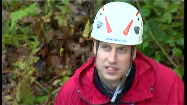 Shows exterior shots Prince William at the bottom of the wall looking up to Catherine getting strapped into harness on November 20 2015 in Capel...