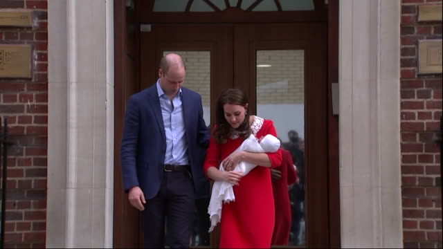 shows exterior shots prince william duke of cambridge and catherine duchess of cambridge walking out onto steps of the lindo wing of st mary's... - photo call stock videos & royalty-free footage
