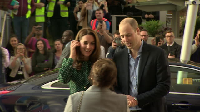 Shows exterior shots Prince William Duke of Cambridge and Catherine Duchess of Cambridge arriving at Evelina London Children's Hospital on 11th...