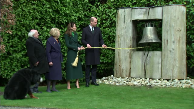shows exterior shots prince william, duke of cambridge, and catherine , duchess of cambridge, with irish president michael d. higgins, and his wife... - dublin republic of ireland stock videos & royalty-free footage