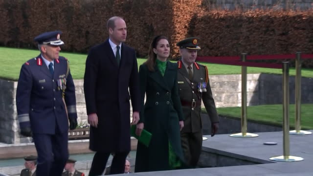 shows exterior shots prince william, duke of cambridge, and catherine , duchess of cambridge, walking up steps and standing as 'god save the queen'... - dublin republic of ireland stock videos & royalty-free footage