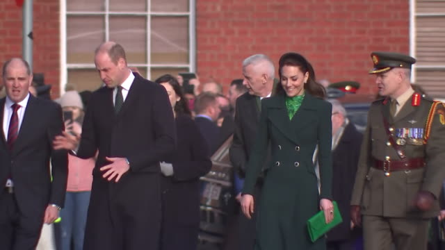 shows exterior shots prince william, duke of cambridge, and catherine , duchess of cambridge, arriving at a commemorative wreath laying ceremony in... - dublin republic of ireland stock videos & royalty-free footage
