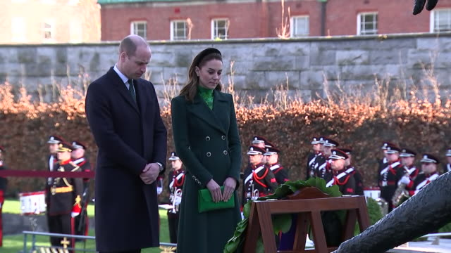 shows exterior shots prince william, duke of cambridge, and catherine , duchess of cambridge, laying wreath and bowing heads at a commemorative... - dublin republic of ireland stock videos & royalty-free footage