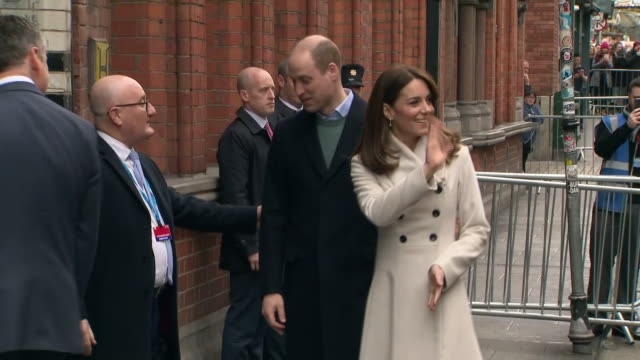 shows exterior shots prince william, duke of cambridge, and catherine , duchess of cambridge arriving at jigsaw, the national centre for youth mental... - dublin republic of ireland stock videos & royalty-free footage