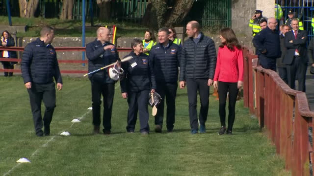 shows exterior shots prince william, duke of cambridge, and catherine , duchess of cambridge, arriving at salthill gaelic athletic association club... - western european culture stock videos & royalty-free footage
