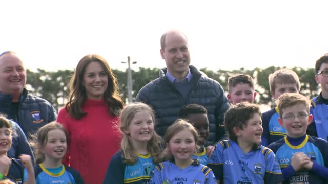 shows exterior shots prince william, duke of cambridge, and catherine , duchess of cambridge, posing with the children for official photo at salthill... - western european culture stock videos & royalty-free footage