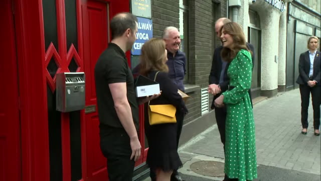 shows exterior shots prince william, duke of cambridge, and catherine , duchess of cambridge, arriving at tig cóilí pub, a family-owned, traditional... - western european culture stock videos & royalty-free footage