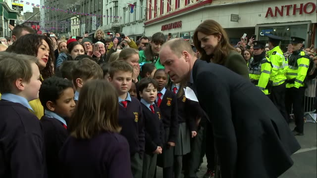 shows exterior shots prince william duke of cambridge and catherine , duchess of cambridge, meeting members of the public and shaking hands on a... - dublin republic of ireland stock videos & royalty-free footage