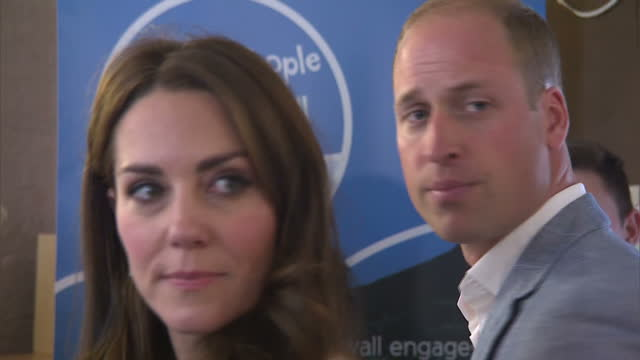 shows exterior shots prince william, duke of cambridge, and catherine, duchess of cambridge, arriving outside zebs, a youth organisation in truro and... - youth organisation stock videos & royalty-free footage