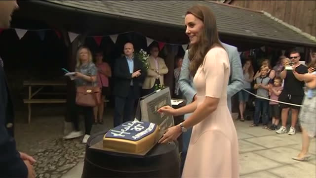 shows exterior shots prince william duke of cambridge and catherine duchess of cambridge touring healey's cornish cyder farm in penhallow unveiling... - cornwall england stock videos and b-roll footage