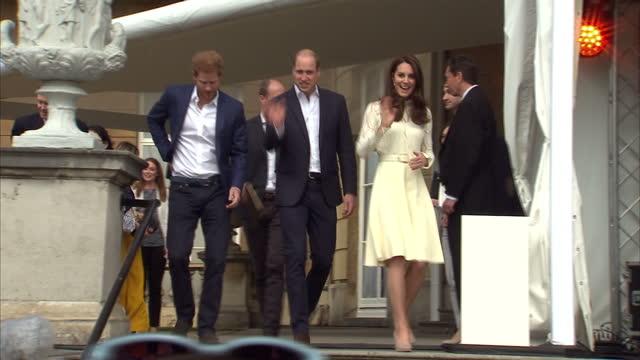 Shows exterior shots Prince William Duke of Cambridge and Catherine Duchess of Cambridge arriving at Garden Party The Duke and Duchess of Cambridge...
