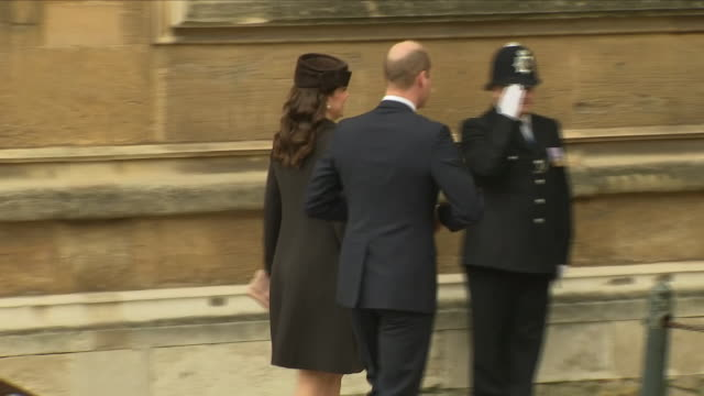 shows exterior shots prince william duke of cambridge and catherine duchess of cambridge arriving outside st george's chapel in windsor castle before... - st. george's chapel stock videos and b-roll footage