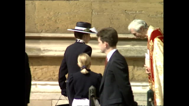 Shows exterior shots Princess Anne and her daughter Zara Philips arriving at St George's Chapel in Windsor Castle to attend the traditional Easter...