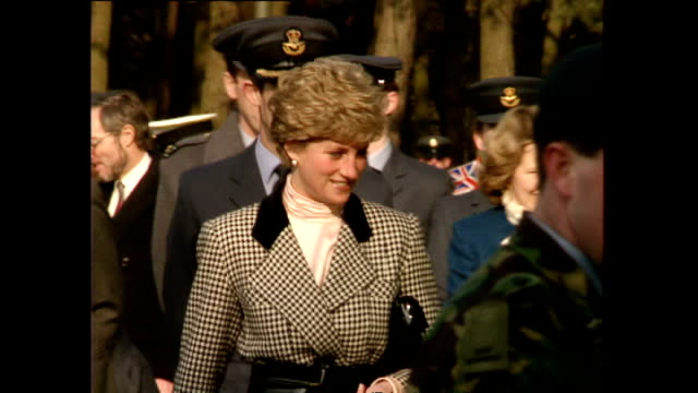 shows exterior shots princess diana on a walkabout talking to children and adults lining route during her visit to raf bruggen near dusseldorf in... - royal air force video stock e b–roll