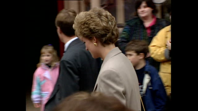 Shows exterior shots Princess Diana taking her sons Prince William and Prince Harry into a shop at a museum in Wales on October 27th 1993 in London...