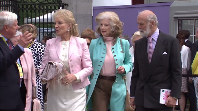 shows exterior shots princess michael of kent and prince michael of kent arriving to attend chelsea flower show at the royal hospital chelsea on may... - kent england stock videos & royalty-free footage