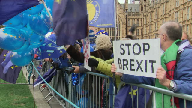 """vidéos et rushes de shows exterior shots pro-eu protesters gathered on college green holding signs, posters and eu flags chanting """"we demand a people's vote"""" and """"this... - montrer"""