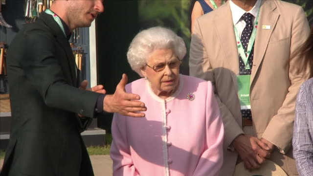 shows exterior shots queen elizabeth ii being introduced to gardeners at the the lemon tree trust garden and looking at the garden at the chelsea... - chelsea flower show stock videos & royalty-free footage