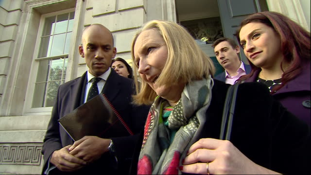 shows exterior shots remain supporting mps leaving the cabinet offices in london after meeting with members of the government to discuss problems... - heidi allen stock videos & royalty-free footage